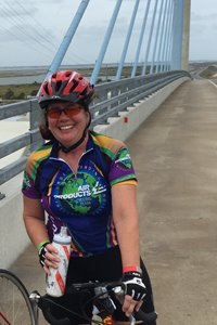 SALLY, ON THE BRIDGE AT BIKE MS: BIKE TO THE BAY IN 2015